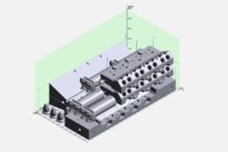 Anordnung der Druckteile im virtuellen Bauraum der VX1000 von voxeljet