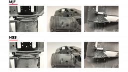 Vergleich Kantendetails HP Multijet Fusion und voxeljet HSS